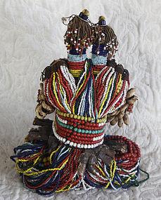 Rare Beaded twin dolls Nimji tribe Cameroon Africa