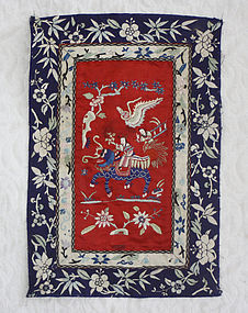 Antique Small Chinese embroidery panel of woman riding foo dog lion