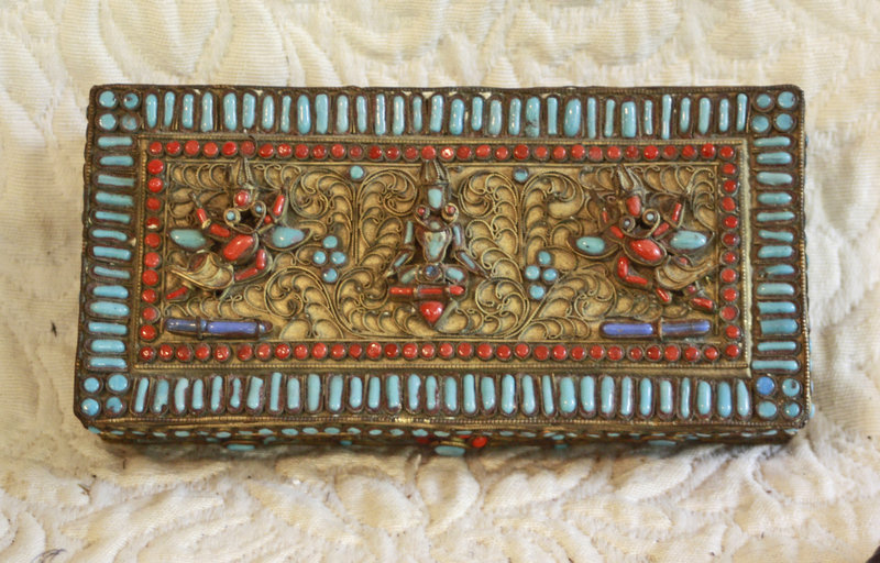 Nepal metal box with Intricate filigree  and stone work  box