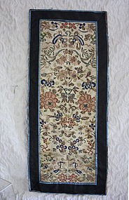 Pair of Antique Chinese silk embroidered sleeve panels