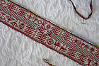 Antique Bolivian hand woven tie belt with beaded edges