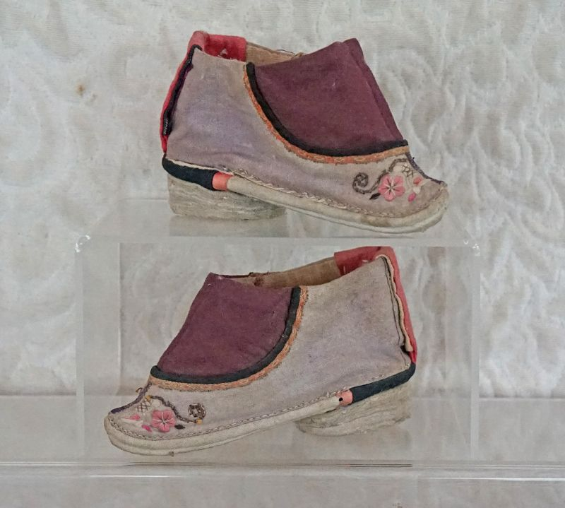 Antique Chinese Lavender Lotus Shoes