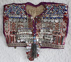 Baluchi beaded dress bodice with coins