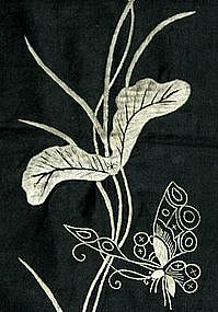 Chinese Black Sleeve Panels with white silk embroidery