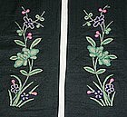 Pair of Chinese sleeve bands with floral embroidery