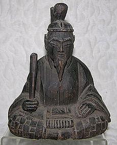 Antique Japanese Okimono carved wooden figure Tenjin