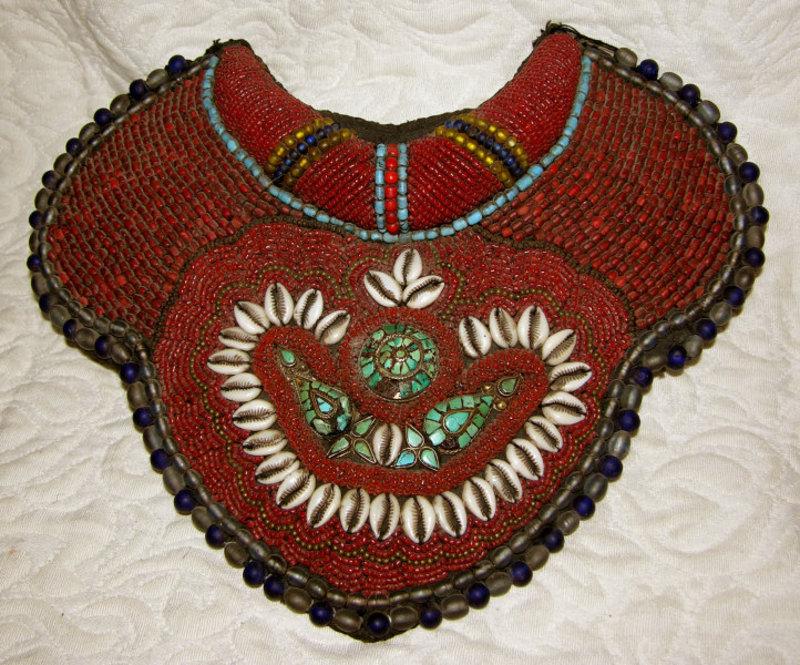 Large Elaborate Coral Beaded Tibetan Collar Breastplate