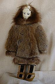 Large Hand-made Female Inuit Eskimo doll leather furs
