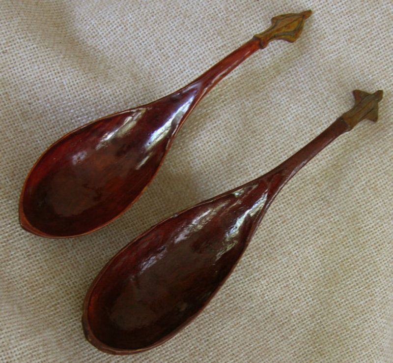 Chinese antique hand carved wooden lacquered spoons