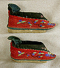 Pair Antique Chinese red lotus shoes bound feet