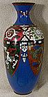 Japanese 4 panel Meiji Period 10 inch Cloisonne Vase