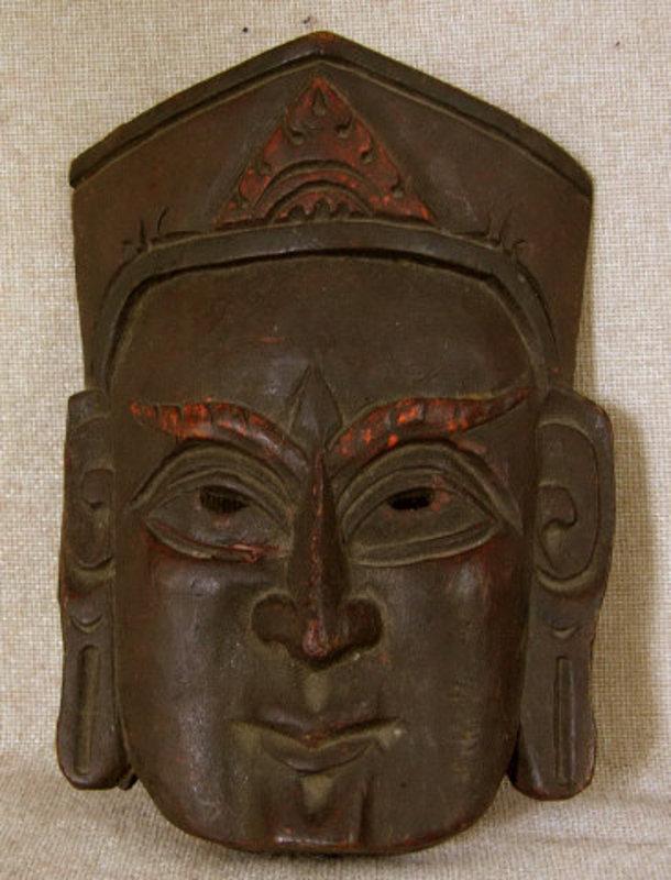 Antique Tibetan carved wooden Priest Mask