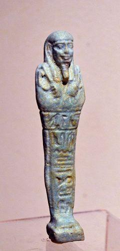 AN ANCIENT EGYPTIAN FAIENCE SHABTI FOR HOR-PEN-ASET