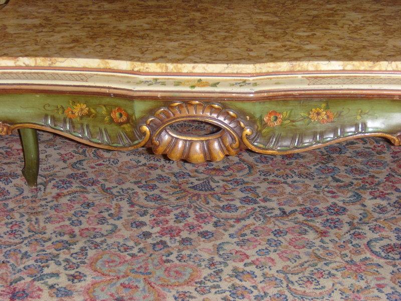 Handpainted Marbled Top Coffee Table