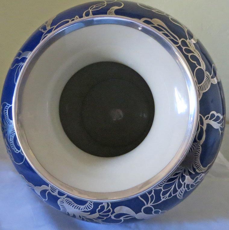 Large Silver Overlay Porcelain Vase
