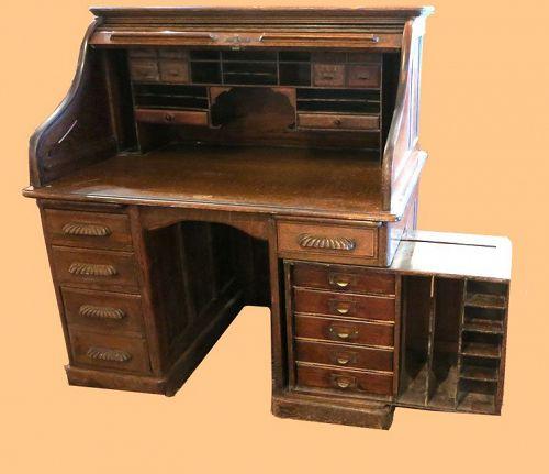 Unusual Oak S-Roll Top Desk
