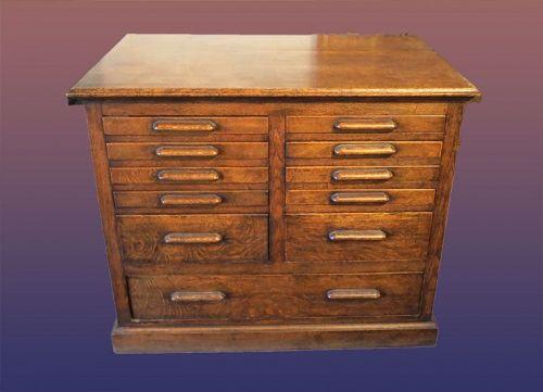 Vintage Quarter Sawed Oak Map Cabinet