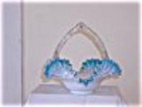 Lovely Blue & White Glass Handled Basket