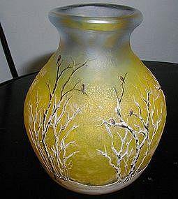 Daum Nancy Cameo Winter Scene Vase