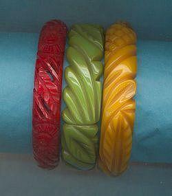 Three Carved Bakelite Bangles