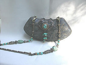 MAYA'S EMBROIDERED LACE AND TURQUOISE PURSE
