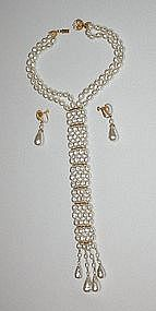 MIRIAM HASKELL NECKTIE NECKLACE AND DANGLE EARRINGS