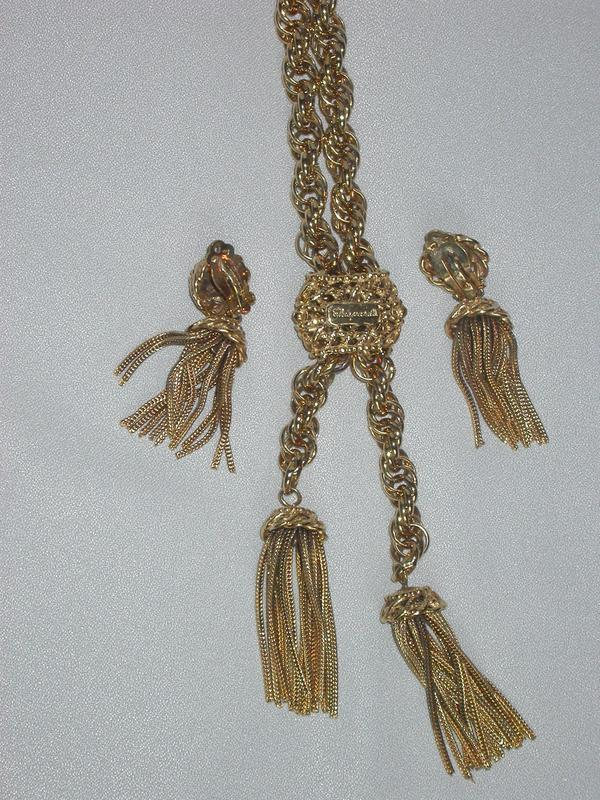 SCHIAPARELLI NECKLACE AND CLIP EARRINGS