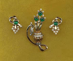 Mazer Brooch and Earrings