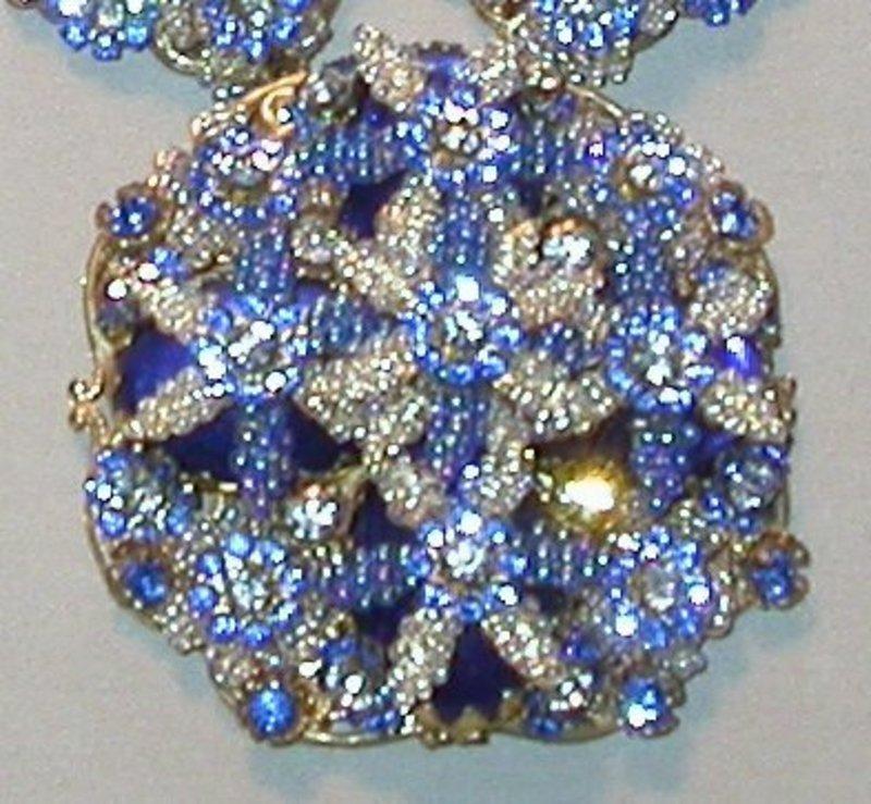 STANLEY HAGLER BLUE BEAD AND CRYSTAL SET