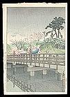 Early Hasui Woodblock - Benkei Bridge - 1931