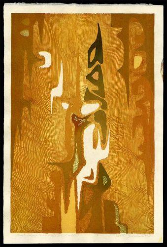 Toshi Yoshida Abstract Woodblock - Autumn Season