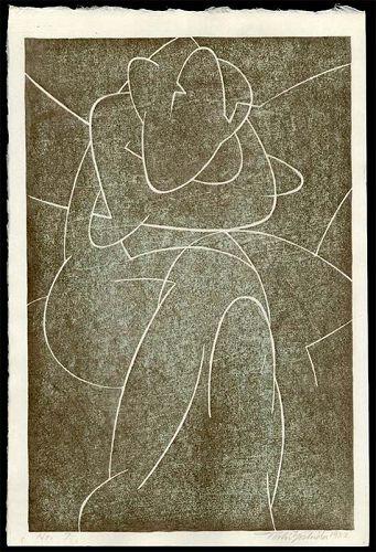 Toshi Yoshida Abstract Woodblock - No. 7