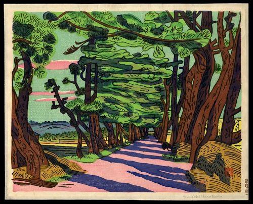Original Un'ichi Hiratsuka Woodblock - Pine Avenue of Tsuda