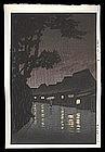 Hasui Woodblock - Rainy Night at Maekawa