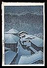 Hasui Woodblock - Snow Storm at Hatori.