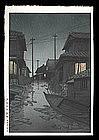 Hasui Woodblock - Night Rain at Kawarako
