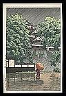 Hasui Woodblock - Kumamoto Castle in Samidare