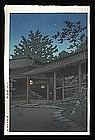 Hasui Woodblock - Night at Hasedera Temple
