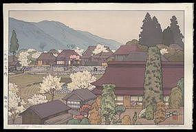 Toshi Yoshida Woodblock - Village of Plums