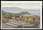 Toshi Yoshida Woodblock - Rice-field in Suizu