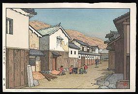 Toshi Yoshida Woodblock - Village in Harima