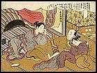 Erotic Japanese Woodblock Print by Harunobu