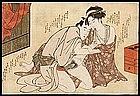 Erotic Japanese Woodblock Print c. 1800