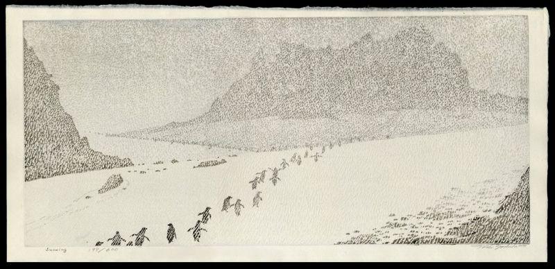 Toshi Yoshida Woodblock Print - Snowing