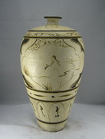 Superbly Ming 15th Century Cizhou Meiping With Figure