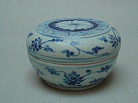 A Rare Ming Blue & White Circular Box