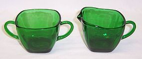 Anchor Hocking Fire King Forest Green CHARM CREAMER and SUGAR BOWL