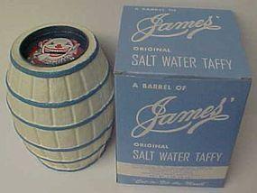 JAMES CANDY CO. Paper Mache BARREL BANK, Original Box