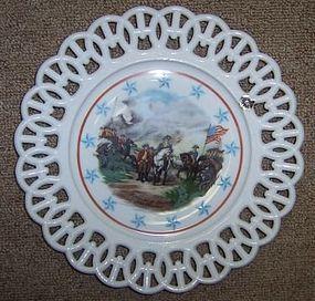 Westmoreland Milk Glass SURRENDER of CORNWALLIS Plate