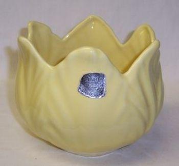 Camark Pottery Yellow 4 1/2 Inch Tall LOTUS Style VASE